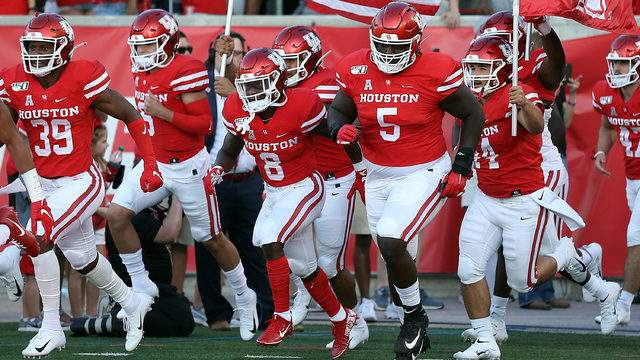 The Houston Cougars take the field for a football game against the Prairie View A&M Panthers on September 07, 2019 in Houston, Texas. (Photo by Bob Levey/Getty Images)