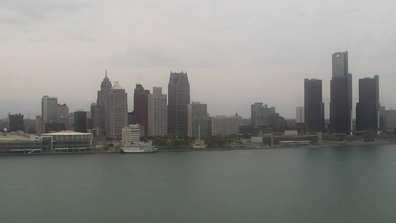 View of Detroit from the Windsor sky camera on May 17, 2020 at 7:08 p.m.
