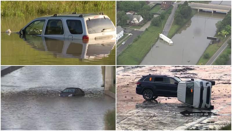 Images of the flooding damage on I-94 in Metro Detroit, taken on June 28, 2021.
