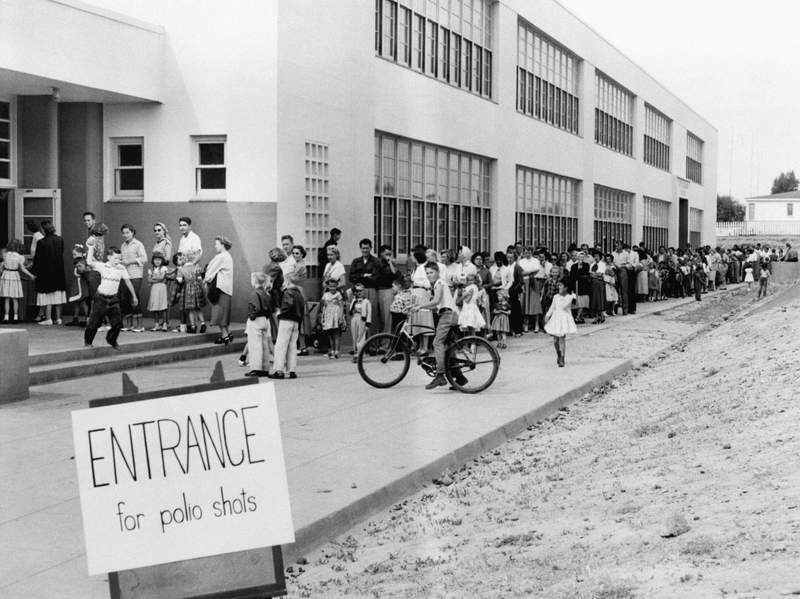 First- and second-graders line up for Salk Polio vaccine shots on April 23, 1955.