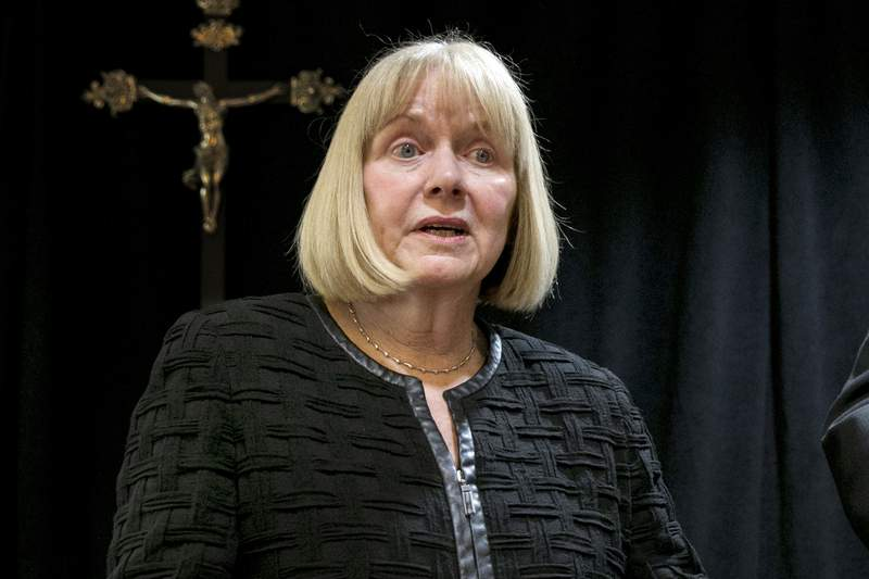 FILE - In this Sept. 20, 2018, file photo, former federal judge Barbara Jones address a news conference at the offices of the New York Archdiocese in New York. Jones was formally appointed Wednesday, June 9, 2021, to ensure attorney-client privilege is protected in the examination of multiple electronic devices seized from Rudy Giuliani. U.S. District Judge J. Paul Oetken appointed Jones as special master after the late-April raids on ex-President Donald Trumps former personal attorney. (AP Photo/Richard Drew, File)
