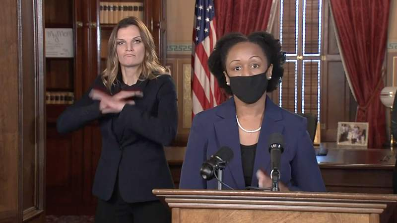 Dr. Joneigh Khaldun, the chief medical executive of the Michigan Department of Health and Human Services, speaks at a coronavirus news conference Dec. 1, 2020.