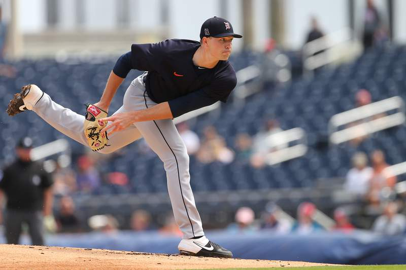Tarik Skubal #87 of the Detroit Tigers in action against the Houston Astros during a spring training baseball game at FITTEAM Ballpark of the Palm Beaches on March 9, 2020 in West Palm Beach, Florida. The Astros defeated the Tigers 2-1.