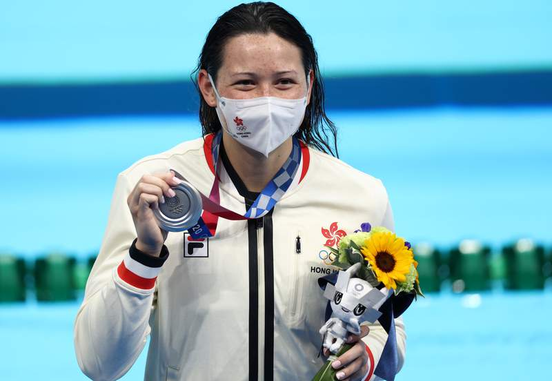 TOKYO, JAPAN - JULY 28: Siobhan Bernadette Haughey of Team Hong Kong poses with the silver medal in the Women's 200m Freestyle Final on day five of the Tokyo 2020 Olympic Games at Tokyo Aquatics Centre on July 28, 2021 in Tokyo, Japan. (Photo by Clive Rose/Getty Images)