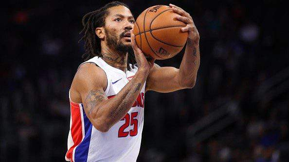 DETROIT, MICHIGAN - OCTOBER 07: Derrick Rose #25 of the Detroit Pistons shoots a free throw while playing the Orlando Magic during a pre season game at Little Caesars Arena on October 07, 2019 in Detroit, Michigan. (Photo by Gregory Shamus/Getty Images)