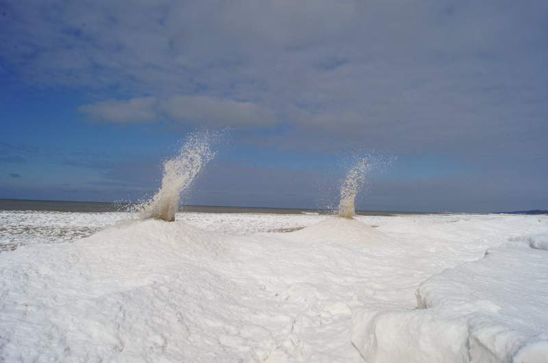 Ice volcanoes erupt at Oval Beach in West Michigan.