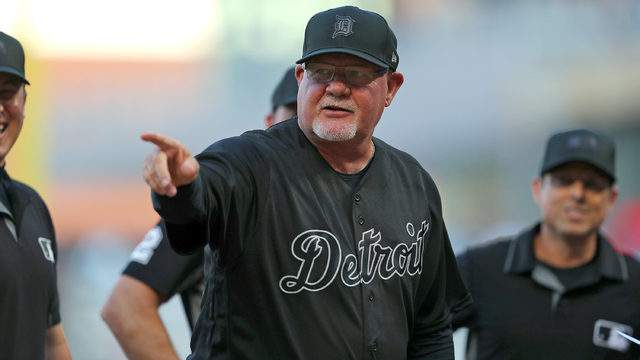 Manager Ron Gardenhire #15 of the Detroit Tigers before the game against the Minnesota Twins at Target Field on August 23, 2019 in Minneapolis, Minnesota. Teams are wearing special color schemed uniforms with players choosing nicknames to display for Players' Weekend. (Photo by Adam Bettcher/Getty Images)
