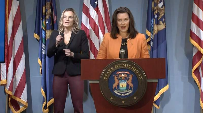 Michigan Gov. Gretchen Whitmer speaks at a news conference Aug. 19, 2020.