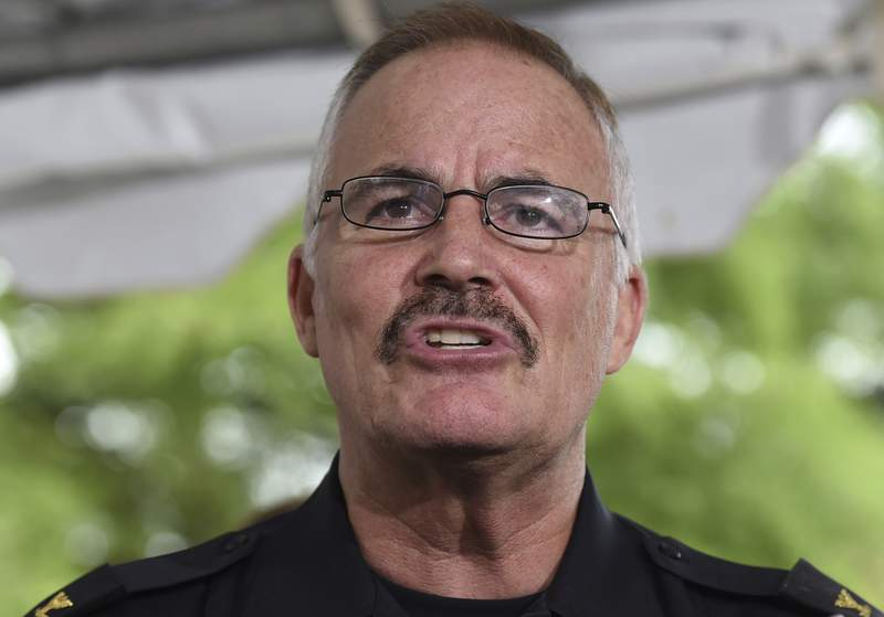 FILE - In this July 15, 2015, file photo, Montgomery County Police Chief J. Thomas Manger speaks at a news conference to discuss developments in the investigation of the disappearance of 10-year-old Katherine Lyon and 12-year-old Shelia Lyon in 1975 in Wheaton, Md. Manger, who has run large departments in Maryland and Virginia, has been selected as chief of the U.S. Capitol Police. Manger will take over in the aftermath of the Jan. 6 insurrection, in which pro-Trump rioters stormed the building in a violent rage, disrupting the certification of Joe Bidens presidential win. (AP Photo/Molly Riley, File)