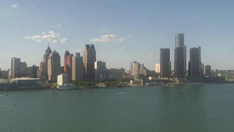 View of Detroit from the Windsor sky camera on May 31, 2020 at 6:33 p.m.