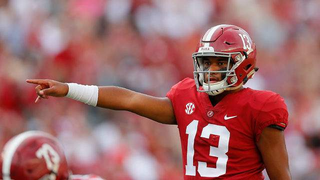 Tua Tagovailoa #13 of the Alabama Crimson Tide runs the offense against the Arkansas State Red Wolves at Bryant-Denny Stadium on September 8, 2018 in Tuscaloosa, Alabama. (Photo by Kevin C. CoxGetty Images)