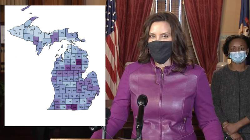 Michigan Gov. Gretchen Whitmer spoke about concerning COVID-19 trends during a Jan. 6, 2021, briefing.