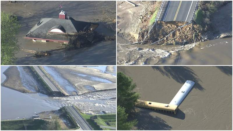 Aerial images of the damage caused by flooding in Midland County on May 20, 2020.