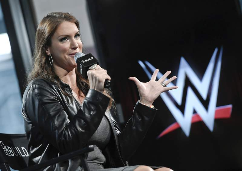 FILE - In this Friday, Oct. 16, 2015, file photo, American businesswoman Stephanie McMahon participates in AOL's BUILD Speaker Series at AOL Studios in New York. World Wrestling Entertainment is used to making headlines this time of year leading up to WrestleMania. But the company has more on its plate leading up to its showcase event on April 10 and 11, 2021. Bringing back fans was needed, and weve been able to try things out that we have thought about but not had the chance, WWE chief brand officer McMahon said. (Photo by Evan Agostini/Invision/AP, File)