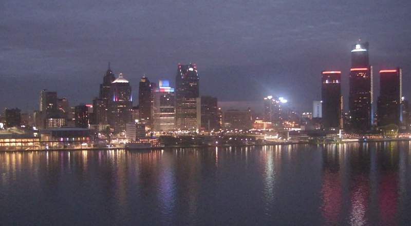 View of Detroit from the Windsor sky camera on April 6, 2020 at 8:30 p.m.