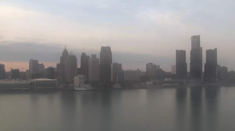 View of Detroit from the Windsor Skycam on May. 9, 2021 at 7:49 p.m.