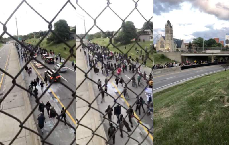 Detroit protesters take to I-375.