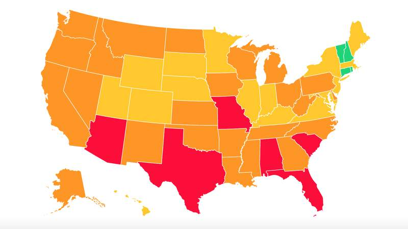"""A screenshot of Covid Act Now's map of the United States and colored according to their """"Covid Risk Level."""" Much like the rest of the country, Michigan is experiencing an uptick in COVID-19 cases and is now labeled at """"high risk"""" for a virus outbreak, according to data from Covid Act Now. Photo courtesy of Covid Act Now's website. -- July 8, 2020"""