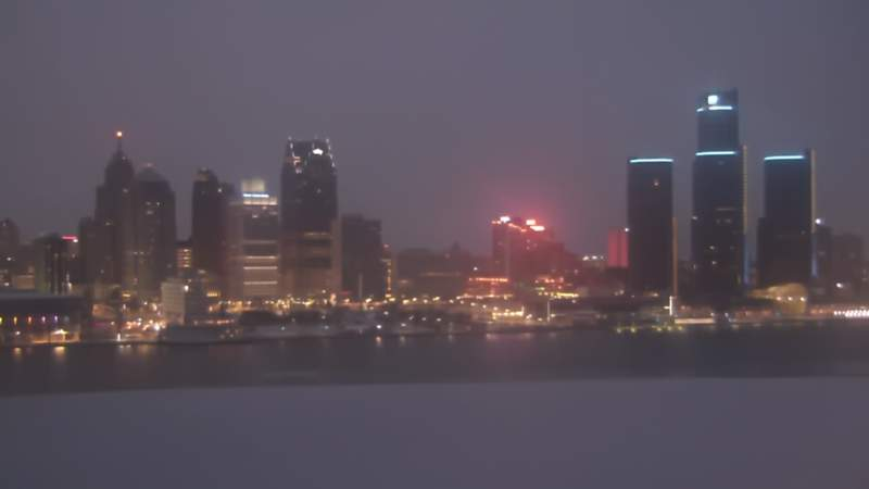 A look at the Detroit riverfront from Windsor, Ontario on Jan. 31, 2021 at 6:43 p.m.
