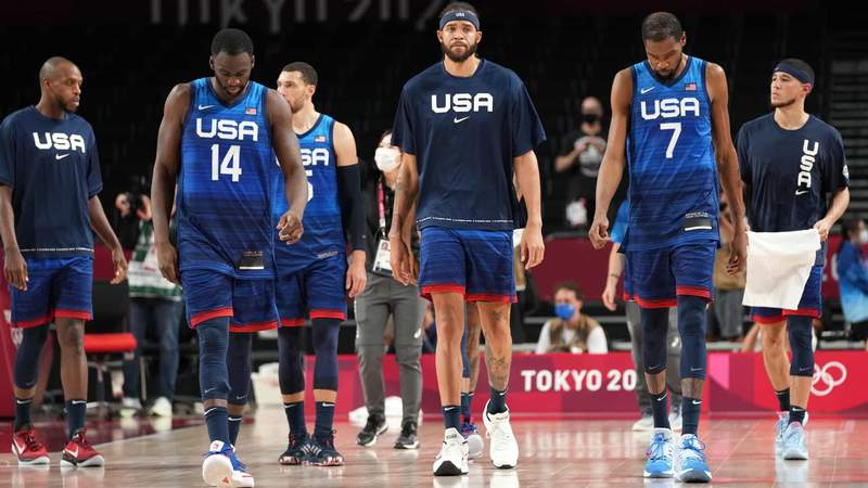 Team United States reacts following the 83-76 loss to Team France in their game in the Tokyo 2020 Olympic Summer Games at Saitama Super Arena.