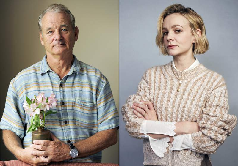 Bill Murray poses for a portrait at the 2012 Toronto Film Festival in Toronto on Sepy.9, 2012, left, and Carey Mulligan poses for a portrait during the Sundance Film Festival in Park City, Utah on Jan. 25, 2020. Murray will receive the Maltin Modern Master Award and Mulligan will receive the Cinema Vanguard Award during this year's Santa Barbara International Film Festival. (Photos by Chris Pizzello/Invision/AP, left, and Taylor Jewell/Invision/AP)