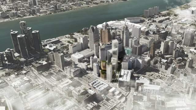 Bedrock rendering of Detroit skyline. (Bedrock)