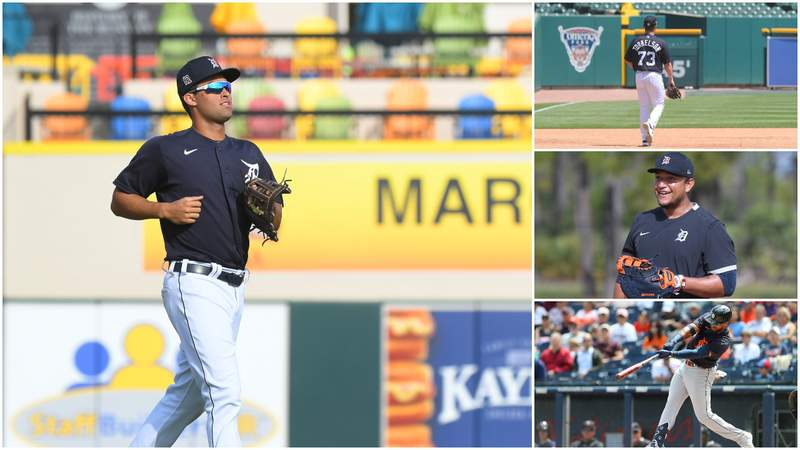 Riley Greene, Spencer Torkelson, Miguel Cabrera and Willi Castro