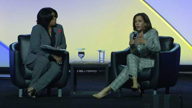 April Ryan and Kamala Harris speak during a Democratic presidential candidates forum July 24, 2019 in Detroit. (WDIV)