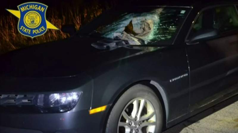 Driver seriously injured after 40-pound sandbag thrown through windshield from overpass on I-96