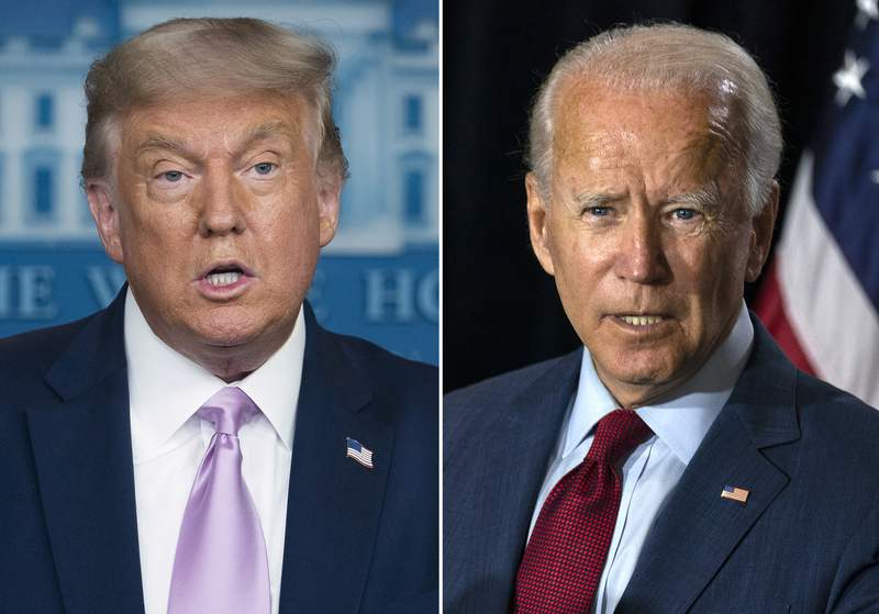 In this combination photo, president Donald Trump, left, speaks at a news conference on Aug. 11, 2020, in Washington and Democratic presidential candidate former Vice President Joe Biden speaks in Wilmington, Del. on Aug. 13, 2020. (AP Photo)