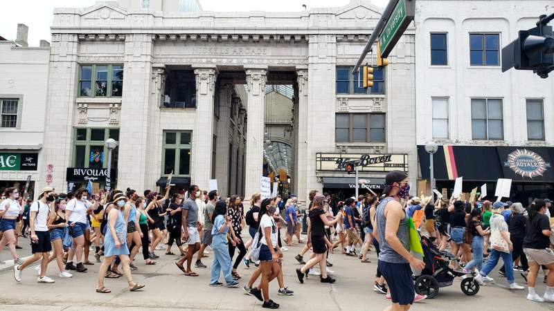 The Juneteenth March for Change drew hundreds to the Diag on the University of Michigan's downtown Ann Arbor campus.