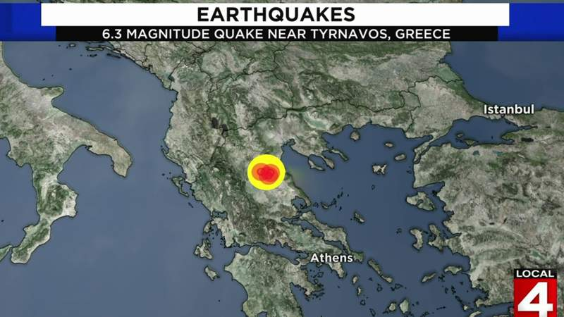 An earthquake with a preliminary magnitude of over 6.0 struck central Greece on Wednesday, March 3, 2021.