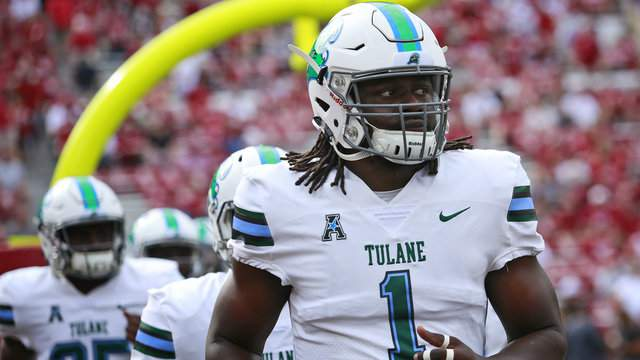 Defensive end Ade Aruna of the Tulane Green Wave takes the field before the game against the Oklahoma Sooners at Gaylord Family Oklahoma Memorial Stadium on September 16, 2017 in Norman, Oklahoma. (Photo by Brett Deering/Getty Images)