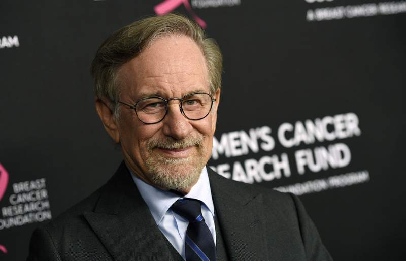 """FILE - In this Thursday, Feb. 28, 2019, file photo, filmmaker Steven Spielberg poses at the 2019 """"An Unforgettable Evening"""" benefiting the Women's Cancer Research Fund, at the Beverly Wilshire Hotel, in Beverly Hills, Calif.  Spielberg has been awarded Israels prestigious 2021 Genesis Prize, Wednesday, Feb. 10, 2021. Organizers of the $1 million prize say the filmmaker was chosen in recognition of his contribution to cinema, his philanthropic works and his efforts to preserve the memory of the Holocaust.  (Photo by Chris Pizzello/Invision/AP, File)"""