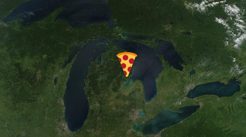 Michigan with a pizza on it.