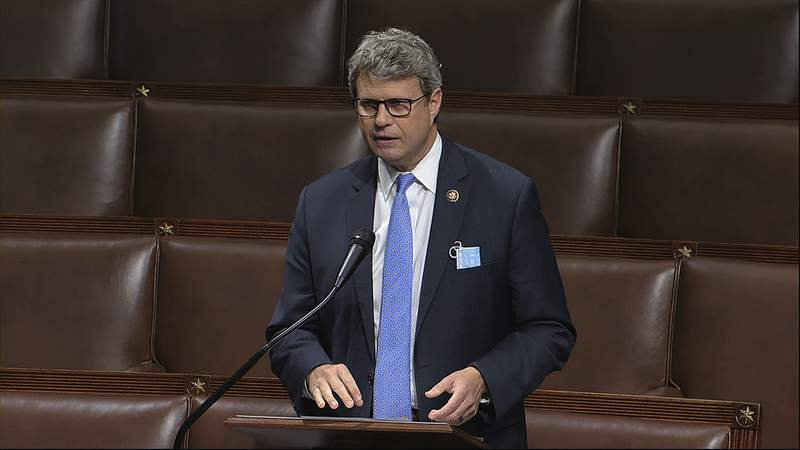 FILE - In this April 23, 2020, image from video, Rep. Bill Huizenga, R-Mich., speaks on the floor of the House of Representatives at the U.S. Capitol in Washington. (House Television via AP, File)