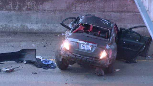 A vehicle involved in a crash March 21, 2019 on westbound I-696. (WDIV)