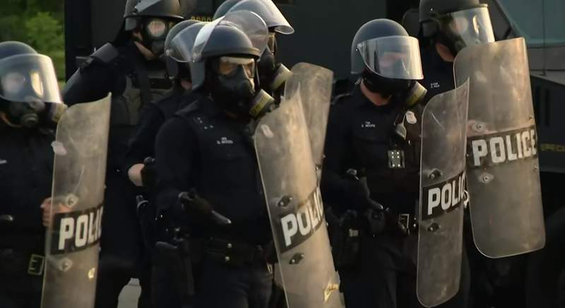 Protesters in standoff with Detroit police on night of June 2, 2020.