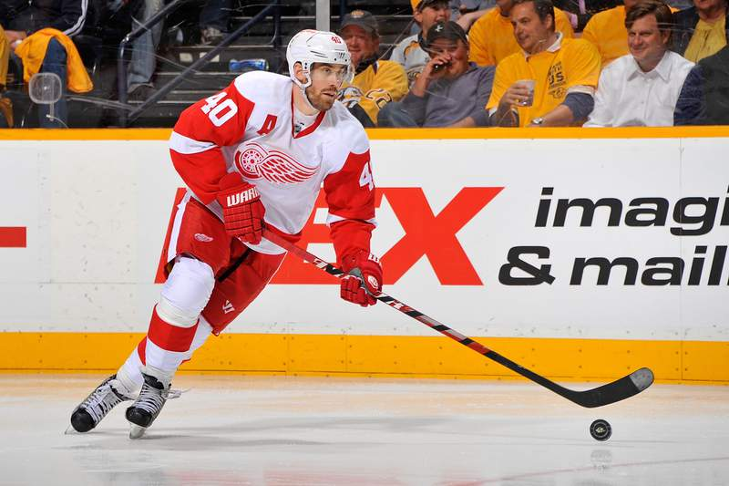 NASHVILLE, TN - APRIL 11: Henrik Zetterberg #40 of the Detroit Red Wings skates against the Nashville Predators in Game One of the Western Conference Quarterfinals during the 2012 NHL Stanley Cup Playoffs at the Bridgestone Arena on April 11, 2012 in Nashville, Tennessee. (Photo by Frederick Breedon/Getty Images)