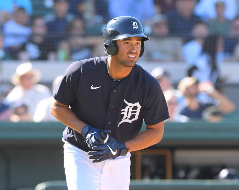 Riley Greene #53 of the Detroit Tigers looks on during the Spring Training game against the New York Yankees at Publix Field at Joker Marchant Stadium on March 1, 2020 in Lakeland, Florida. The Tigers defeated the Yankees 10-4.