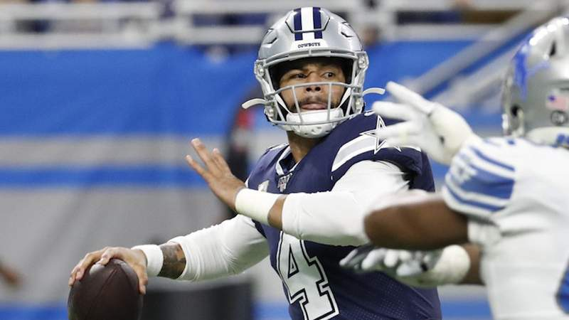 Dallas Cowboys quarterback Dak Prescott (4) is pressured during the first half of an NFL football game against the Detroit Lions, Sunday, Nov. 17, 2019, in Detroit.