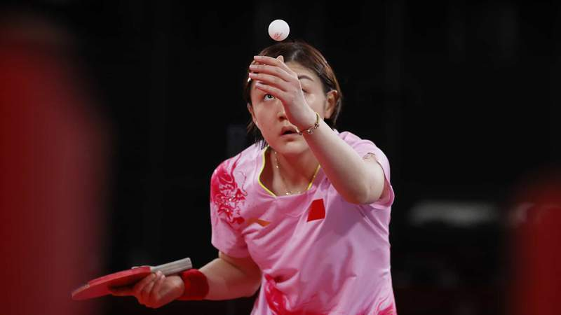 China's Chen Meng serves in the Olympic women's table tennis final Thursday