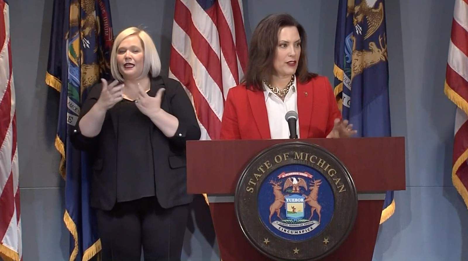 Michigan Gov Whitmer Holds Covid 19 News Conference