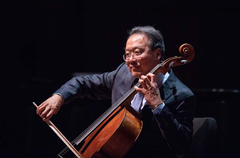 Yo-Yo Ma performs for an Ann Arbor audience at the University of Michigan's Hill Auditorium during a Feb. 2019 visit.