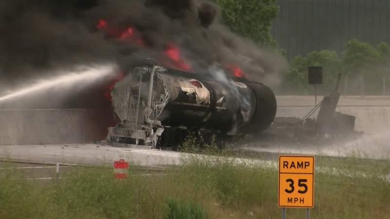 Tanker truck burns on I-75 near Big Beaver Road