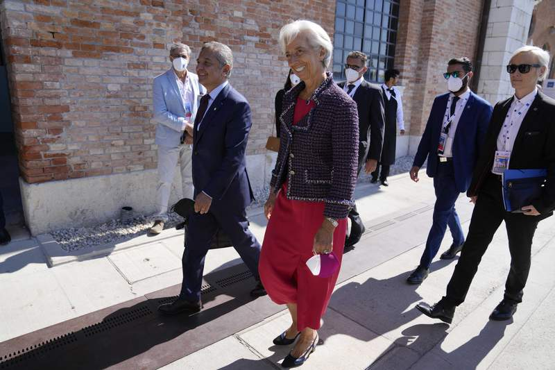 European Central Bank President Christine Lagarde arrives for a G20 meeting of Economy and Finance ministers and Central bank governors, in Venice, Italy, Friday, July 9, 2021. (AP Photo/Luca Bruno)