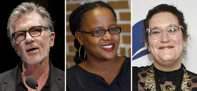 """This combination photo shows authors Michael Cunningham, from left, at """"La Milanesiana"""" cultural event, in Milan, Italy, on June 29, 2017, Edwidge Danticat on Oct. 18, 2010, in the Little Haiti neighborhood of Miami and Carmen Maria Machado at the 68th National Book Awards Ceremony and Benefit Dinner on Nov. 15, 2017, in New York. They are among the prize-winning authors contributing stories to a collection co-sponsored by Manhattan's Symphony Space performing arts center and its nationally aired """"Selected Shorts"""" program. Algonquin Books is teaming with Symphony Space on """"Small Odysseys: Selected Shorts Presents 35 New Stories,"""" which features work by Cunningham, Danticat and Machado. (AP Photo)"""