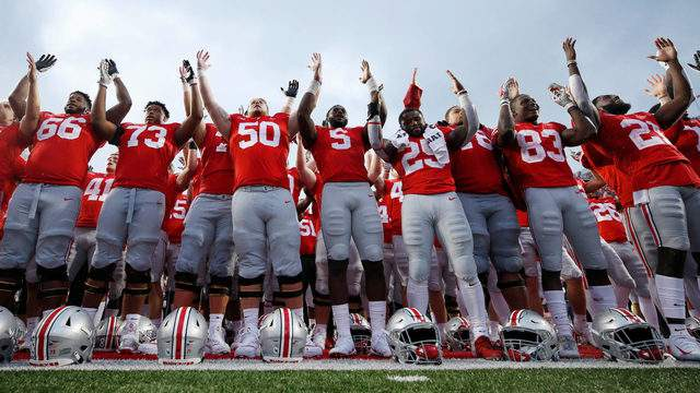 The Ohio State University Buckeyes celebrate after a 52-3 win against the Rutgers Scarlet Knights at Ohio Stadium on Sept. 8, 2018, in Columbus.