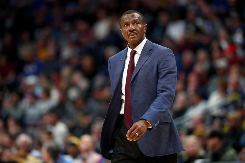 DENVER, CO - FEBRUARY 25: Head Coach Dwane Casey of the Detroit Pistons looks at the clock against the Denver Nuggets at Pepsi Center on February 25, 2020 in Denver, Colorado. NOTE TO USER: User expressly acknowledges and agrees that, by downloading and/or using this photograph, user is consenting to the terms and conditions of the Getty Images License Agreement (Photo by Jamie Schwaberow/Getty Images)