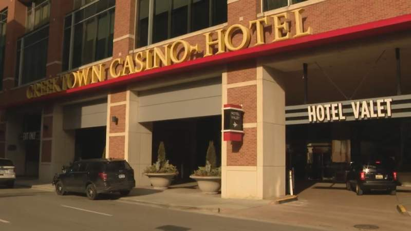 Police at the Greektown Casino Hotel on Feb. 18, 2020.